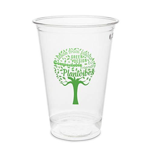 Plantvibes 50 transparente Bio Trinkbecher, Kompostierbar &...