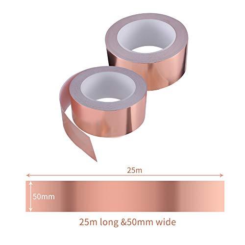 Zalava 50mm X 25M Kupferband Kupferfolienband EMI Kapton...