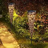 Görvitor Solarleuchten Garten Metall 2 Stück Solarlampen...